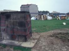 Karl-Liebknecht-Denkmal auf dem besetzten Potsdamer Platz